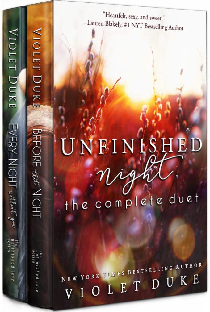 Unfinished Night: The Complete Duet by Violet Duke #Romance #NewRelease @VioletDukeBooks @InkSlingerPR
