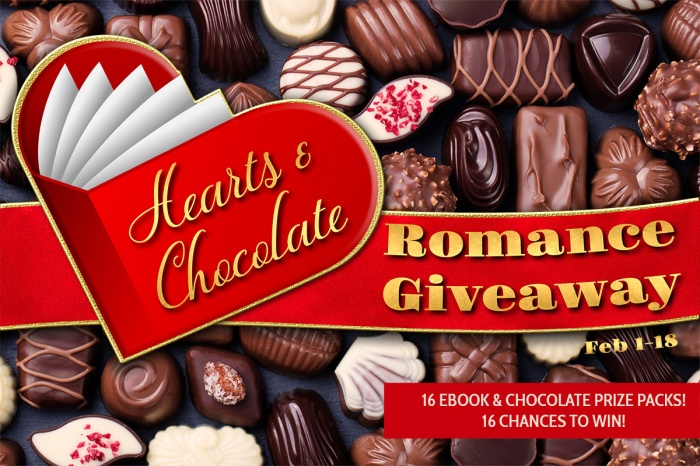 16 Ebook & Chocolate Prize Packs! 16 Chances to Win!  Hearts & Chocolate #Romance Giveaway, Feb 1-18. #bookwrapt #hearts&chocolate