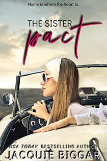 Book cover for The Sister Pact by Jacquie Biggar shows pretty blonde woman with sunglasses and headscarf sitting in profile in a convertible, hand on steering wheel