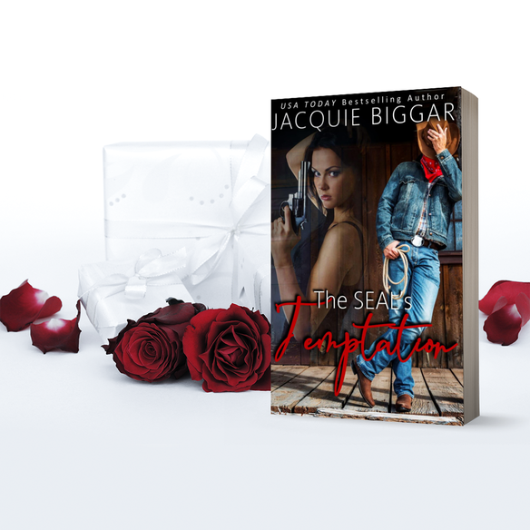 image of paperback copy of The Seal's Temptation surrounded by roses and two gift wrapped packages